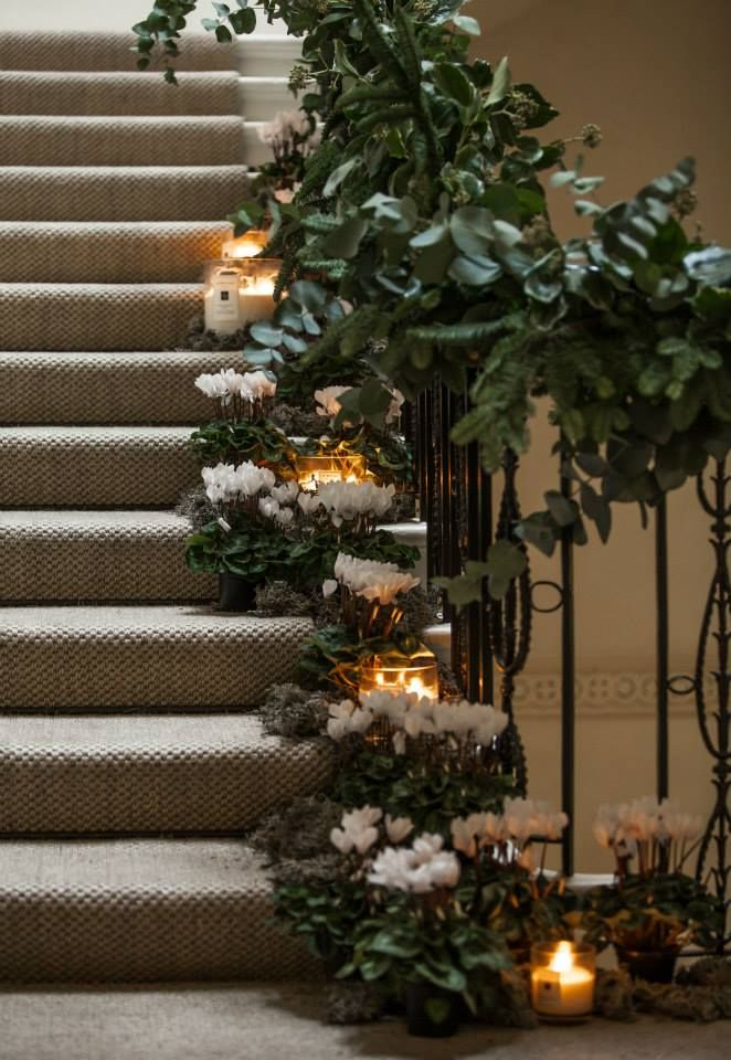 Willow Crossley's  pine and eucalyptus christmas garland with Lichen and white cyclamen for Jo Malone