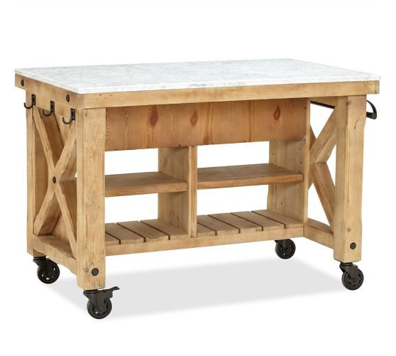 Hamilton Reclaimed Wood Marble-Top Kitchen Island | Pottery Barn