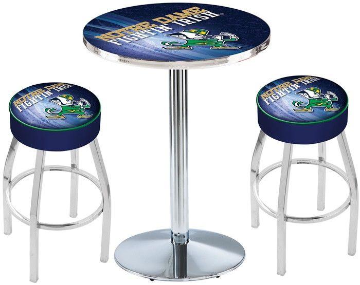 Notre Dame Fighting Irish Leprechaun D2 Chrome Pub Table Set. Available in two table widths.   Visit SportsFansPlus.com for Details.