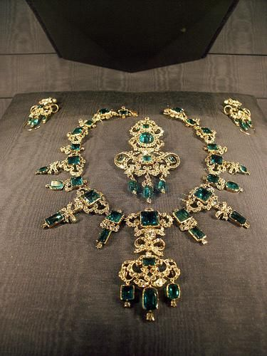 Danish Crown Jewels. Only the Queen of Denmark is allowed to wear the emerald parure, and since it is part of the crown jewels, it is not allowed to leave Denmark.