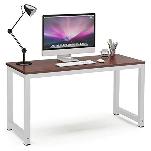 Tribesigns Computer Desk, 55″ Large Office Desk Computer Table Study Writing Desk for Home Office, Teak + White Leg