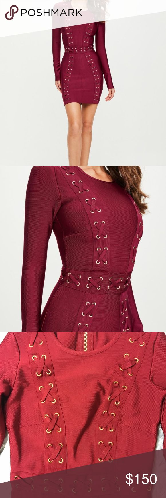 """peace + love red longsleeve bandage dress NWT red dress in a bandage fabric, bodycon fit and long sleeves. US size 4. UK size 8.   regular / stretch fit - exposed back zip   90% viscose 10% elastane   approx length: 84cm/33"""" (based on a uk size 8 sample)   The model is 5'9"""" hand wash Missguided Dresses Midi"""