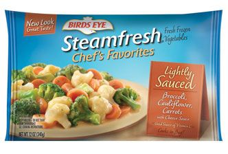 Lightly Sauced Broccoli, Cauliflower, Carrot with Cheese Sauce - Heart healthy. Low fat, low cholesterol. No trans fat or preservatives. Put this whole bag over 3/4 of a baked potato- yummy, filling and 261 calorie meal!!