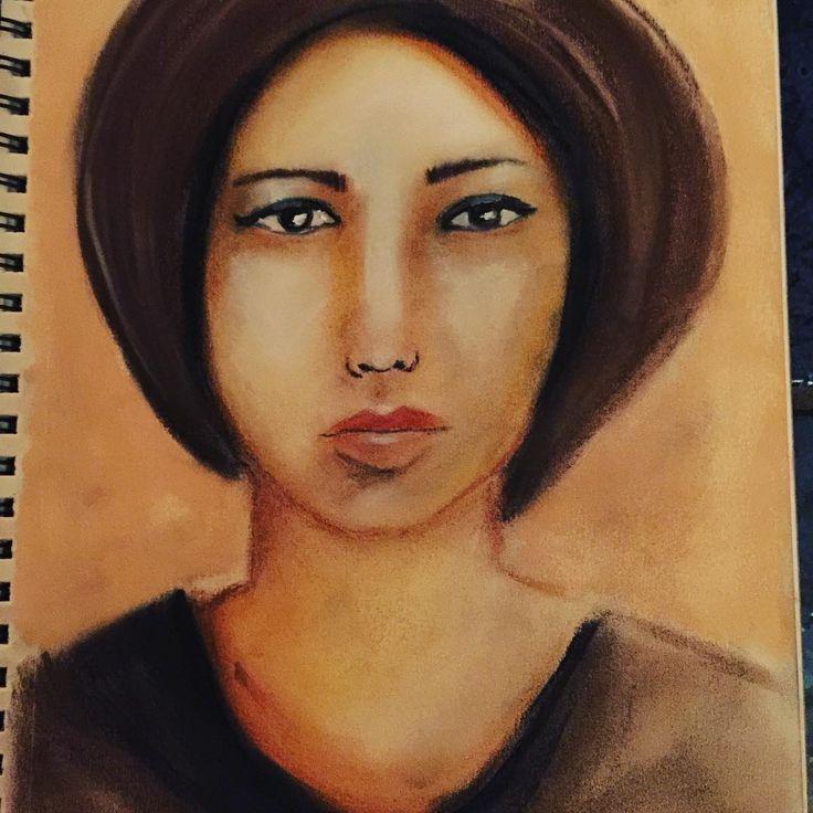 Feeling proud! My first pastel drawing! #portrait #pastel #pastels #pastelportrait #drawing #draw #drawings #art #artwork #cretacolor #rembrantpastels #creative #lykkeligkreativ #tegning #pasteller #kunst #artjournalpage #artjournal #sketchbook #skisse #skissebol
