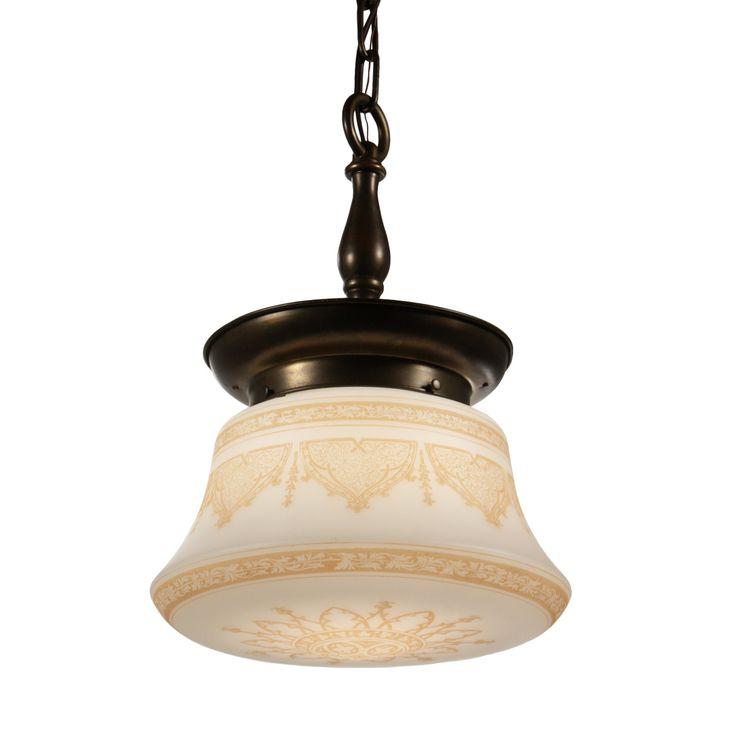 antique pendant light with original shade - Antique Light Fixtures