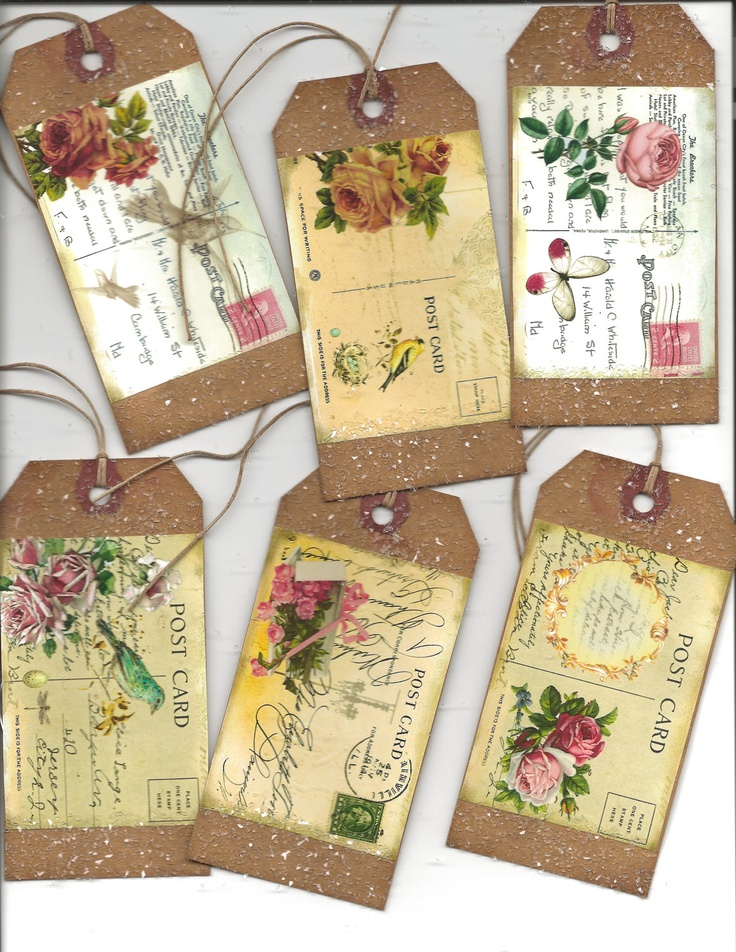 12 primitive tags  POSTCARDS Gift tags Grungy hang tags Romantic. $3.99, via Etsy.