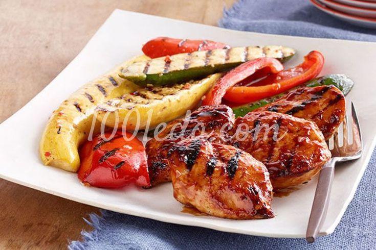 Оранжевая курица-барбекю с овощами гриль