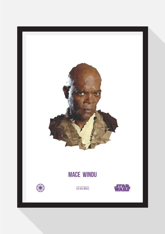 Mace Windu Portrait by TheDesignCollection on Etsy