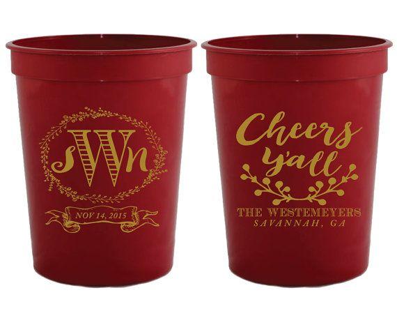 Cheers Y'all Monogrammed Wedding Favors Country Wedding Cups Rustic Wedding Favors Custom Wedding Cups Monogrammed Shower Favors 1247 by SipHipHooray
