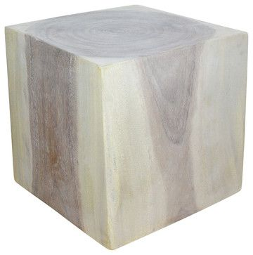 Cube Sust Wood 18 x 18 x 18 inch End Table w Eco Friendly Livos Agate Grey Oil F asian-footstools-and-ottomans
