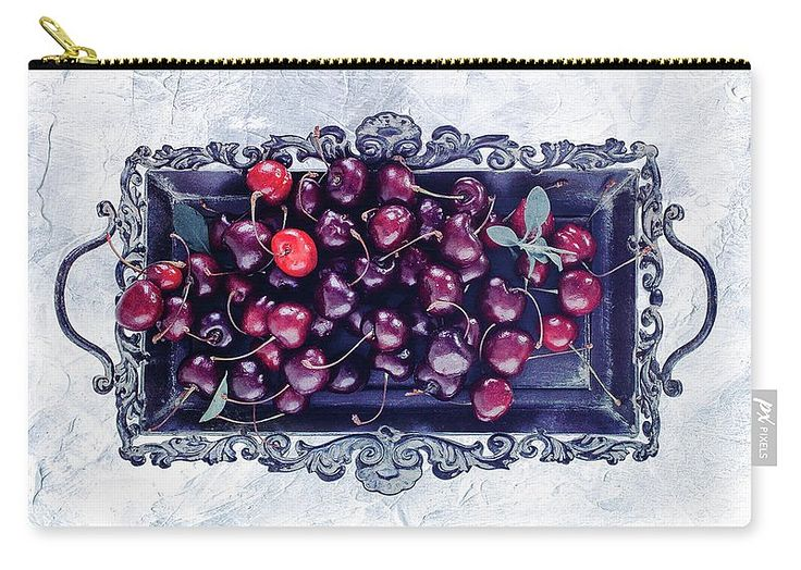 White Carry-all Pouch featuring the photograph Winter Cherry by Oksana Ariskina Red berry on a antique tray on a white marble, stucco, plaster textured background. Available as mugs, posters, greeting cards, phone cases, throw pillows, framed fine art prints, metal, acrylic or canvas prints, shower curtains, duvet covers with my fine art photography online: www.oksana-ariskina.pixels.com #OksanaAriskina