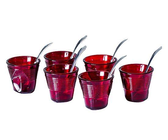 Set di 6 bicchierini caffè in vetro con cucchiaini rosso, 115 ml