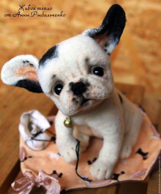 Toy animals, handmade.  French Bulldog Puppy Donut.  Anna Rybal'chenko.  Arts and crafts fair.  Dog toy French bulldog
