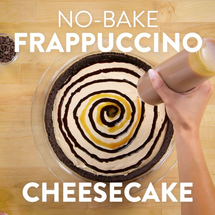 Calling every Frappuccino fan out there: we've whipped up an easy no-bake cheesecake, inspired by one of our favorite Starbucks drinks, the Frappuccino. This is full of rich coffee flavor with an Oreo crust plus chocolate and caramel drizzles. You're going to go absolutely crazy for the decadent flavors, and the best part is that you can whip this up pretty much anytime you want.