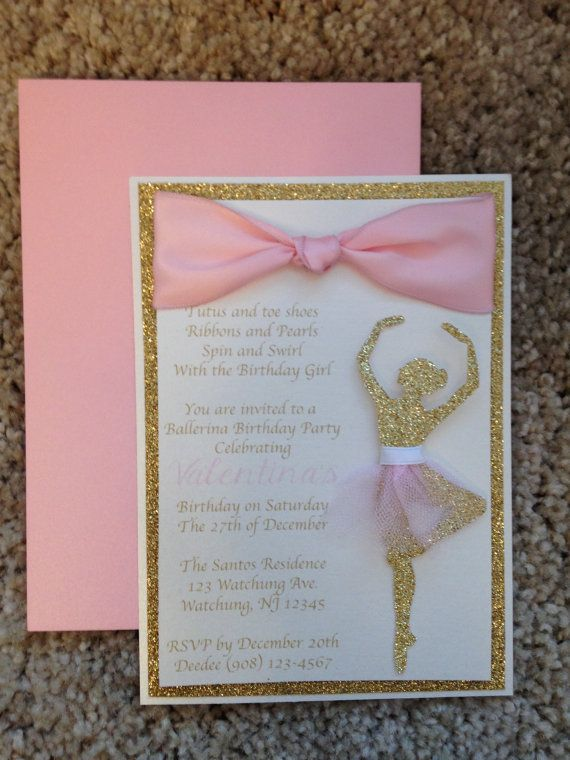 Looking for an elegant and stunning ballerina birthday invite? Why not send out these beautiful invitations!!! Each invitation is 3 layers.