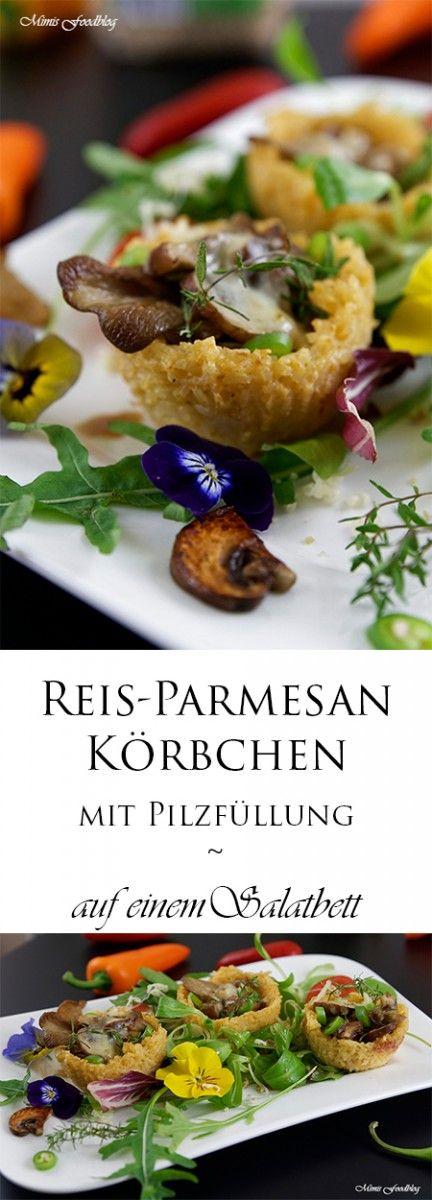 Die Reis-Parmesan-Körbchen mit Pilzfüllung sind eine kleine Leckerei auf einem Salatbett. Sie sind wunderbar für ein Buffet, als Vorspeise oder auch als Hauptgericht.