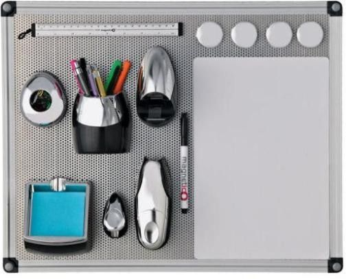 Axcess NPNET4050 Magnetico More Desk Space Kit Organizer, Kit contains: A reversible perforated steel push pin board / magnetic whiteboard, A rubber magnetic whiteboard, Pencil cup, stapler, Staples, Staple remover, Tape dispenser with tape,  8