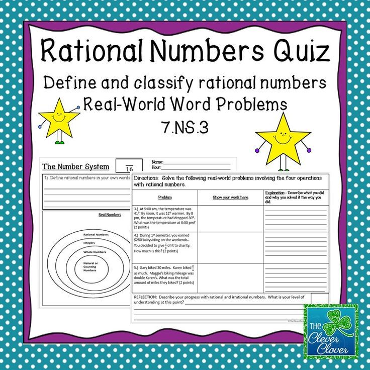 This product includes a quiz on the 7.NS.3 Common Core Standards. Students are asked to explain their thinking and to provide work to support their answers.  The questions cover  the rational number definition, placing rational and irrational numbers on a graphic organizer and three word problems. At the end of the quiz, students are asked to reflect upon their understanding of rational and irrational numbers.