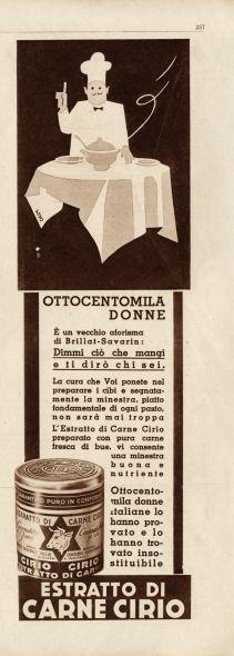 La pubblicità dell'estratto di carne Cirio degli anni '30