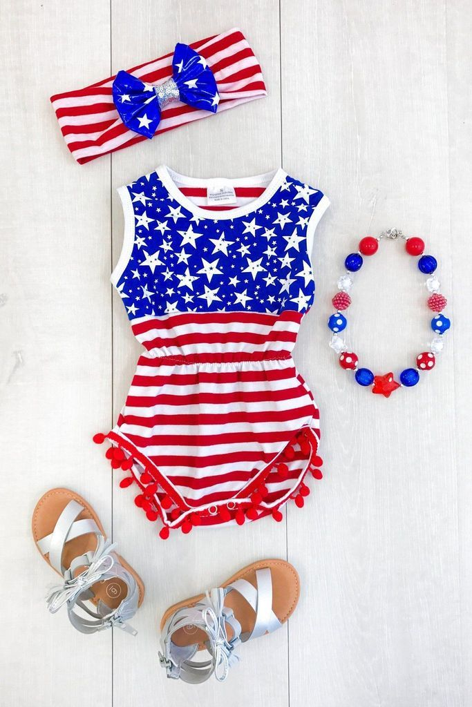 f2cbc4d56 Stars and Stripes Romper Fourth of July GirlsRomper