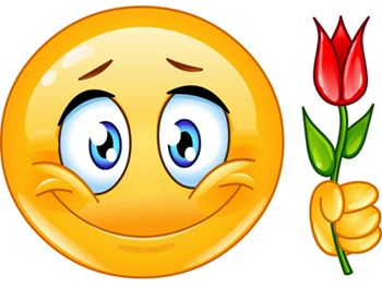 Give someone a heartfelt greeting with this bold smiley and its lovely rose.