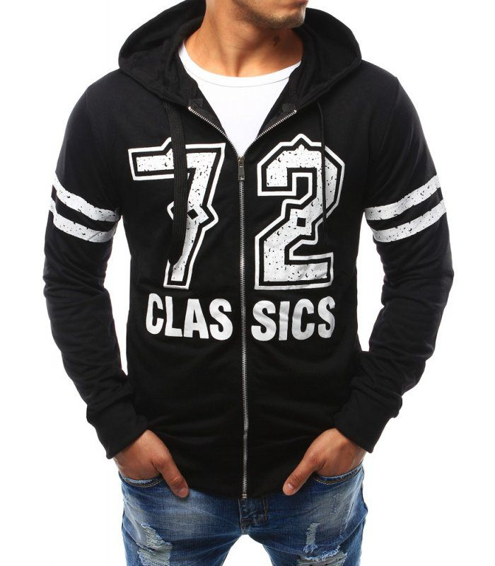 Panska čierna mikina 72 Classics s kapucňou
