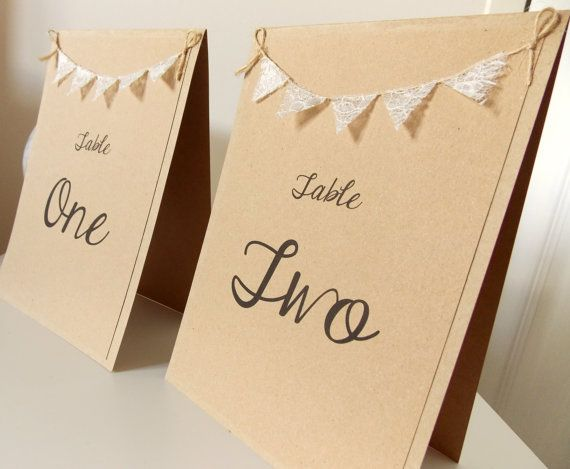 Tisch Anzahl Karte Hochzeit Tabellennummer von FromLeoniWithLove