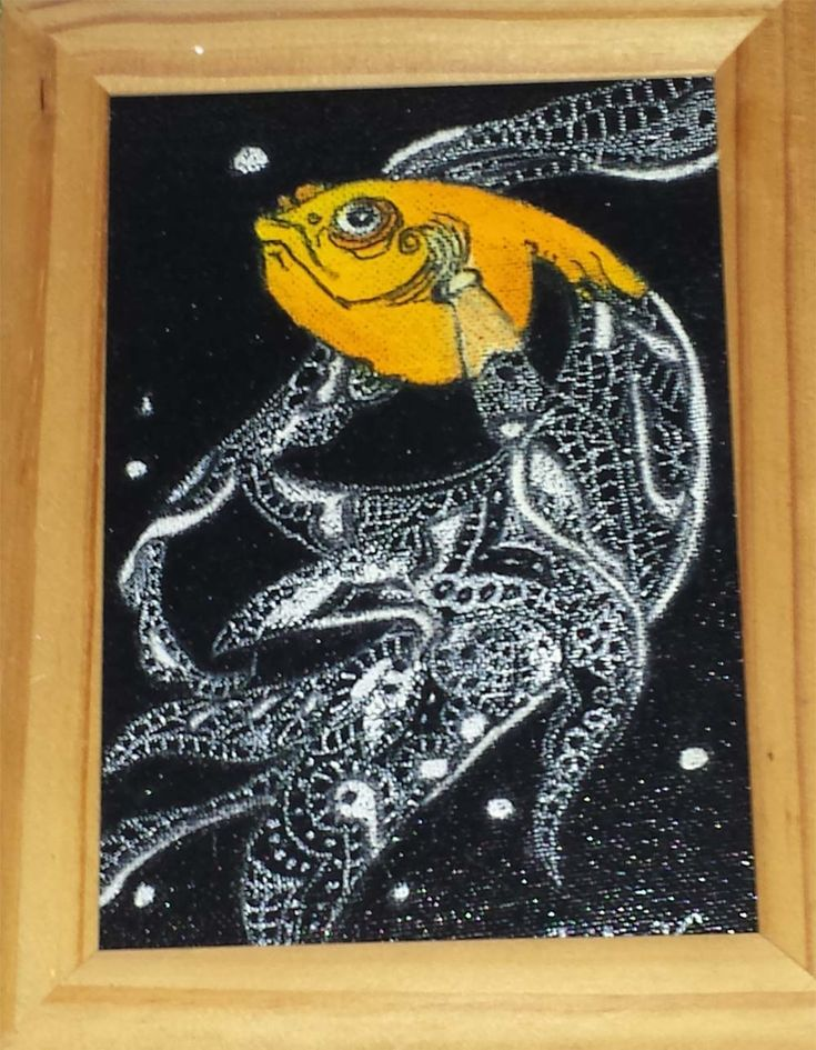 Framed Chalk Art Lace Tailed Goldfish on Canvas