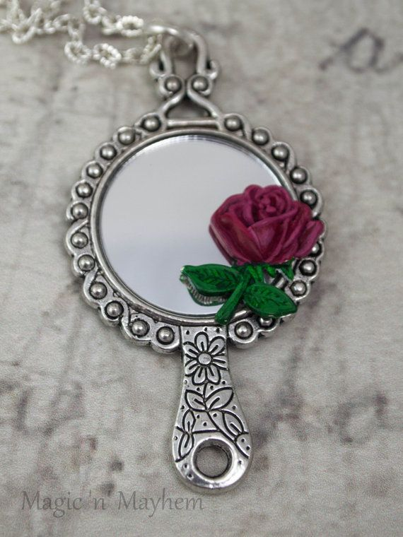 PREORDER SPECIAL- Tale as Old as Time Necklace - Beauty and the Beast - Magical Rose and Mirror - Hand Painted