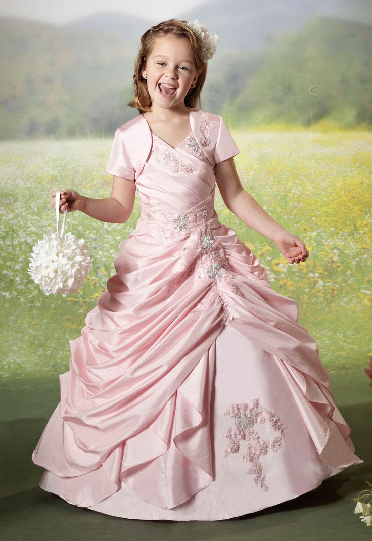 Ball Gown Lace up Taffeta Flower Girl Dress www.findress.com