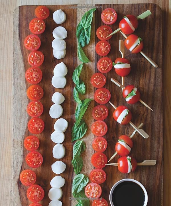 Tiny Food Party: mini Caprese salad bites Id add a little balsamic glaze on the cheese and eat these every day. Although the dipping is cool too.