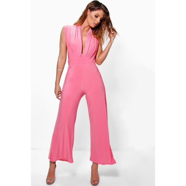 Boohoo Katrina Split Leg Jumpsuit ($18) ❤ liked on Polyvore featuring jumpsuits, white jumpsuit, coral jumpsuit, boohoo jumpsuits, white jump suit and jump suit