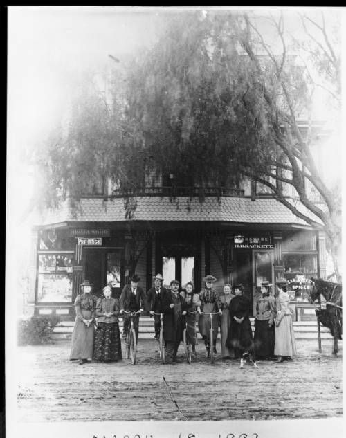 Portrait of people in front of Sackett Store, Post Office, and Hotel on the southwest corner of Cahuenga Boulevard and Hollywood Boulevard, March 18, 1899. http://digitallibrary.usc.edu/cdm/ref/collection/p15799coll65/id/4170