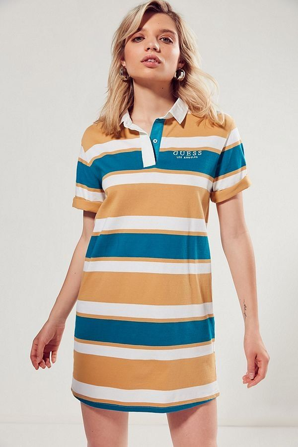 f14fb8be8c Slide View  1  GUESS + UO Rugby Striped Shirt Dress