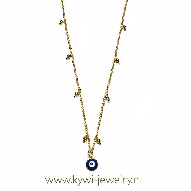 Elegante gouden ketting met gouden amulet boze oog. Nazar of ayin, beschermer tegen het boze oog in prachtig goldplated kwaliteit mini jasseron. Jasseron goud.