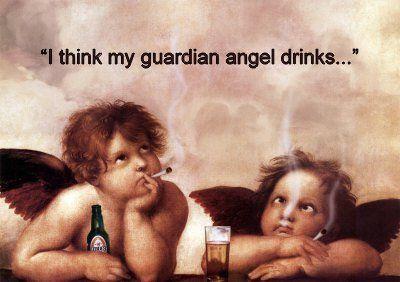 I think my guardian angel drinks | Amizade engraçada ...