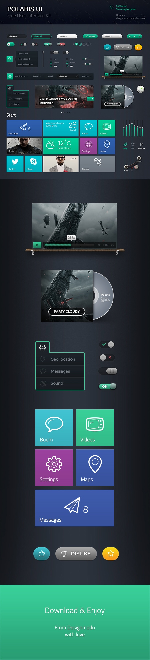 "Polaris UI Free – by Adrian *** "" Polaris UI Free is a set of beautiful free UI components, which includes Edit Boxes, Check Boxes, Radio Buttons, Page Navigation, Menu, Buttons, etc. You can use this UI Kit in any of your projects, and even learn with it, by examining each component to see how it is put together. """