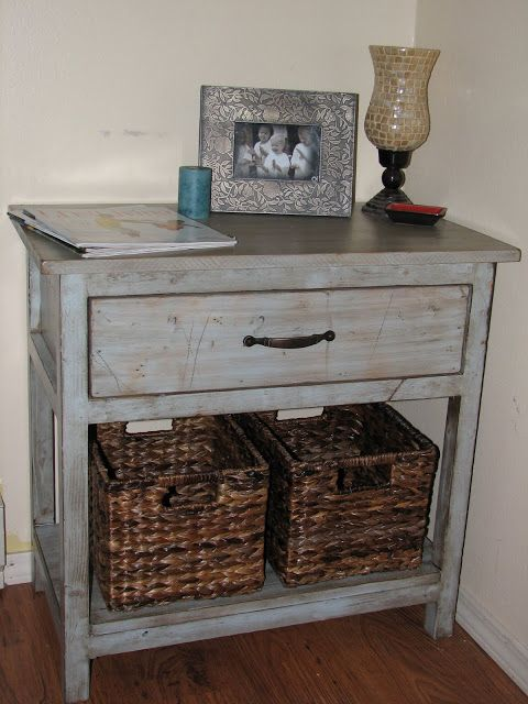 the laundry will wait: My Farmhouse Bedside Table Anna White table and this woman used 2 coats baby blue spray paint, sanded and distressed it, used miniwax walnut stain and wiped off, dried 2 days and put polyurethane on top