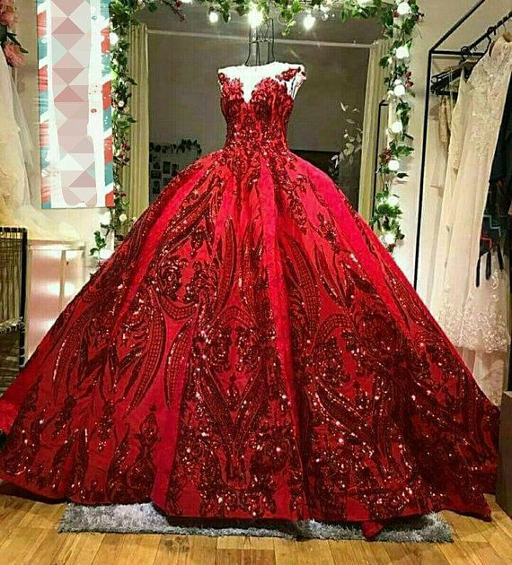 Luxury Couture Sequinned Red Wedding Dress Weddingdress Gowns