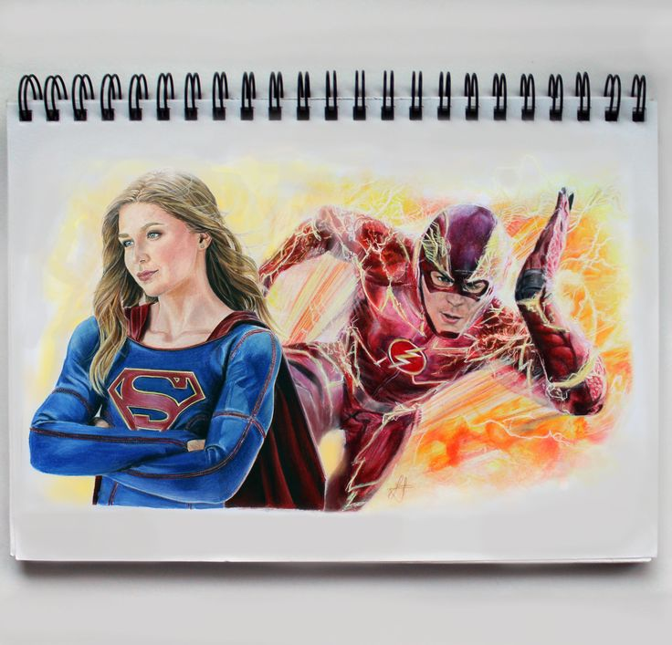 The Flash and Super girl  Drawing