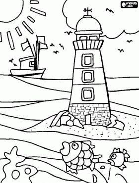 Vuurtoren in het midden van de zee die dient als leidraad voor schepen kleurplaat