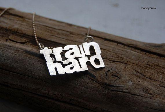 Pendant silver sterling Train hard letter от HoneyAndRings, $95.00