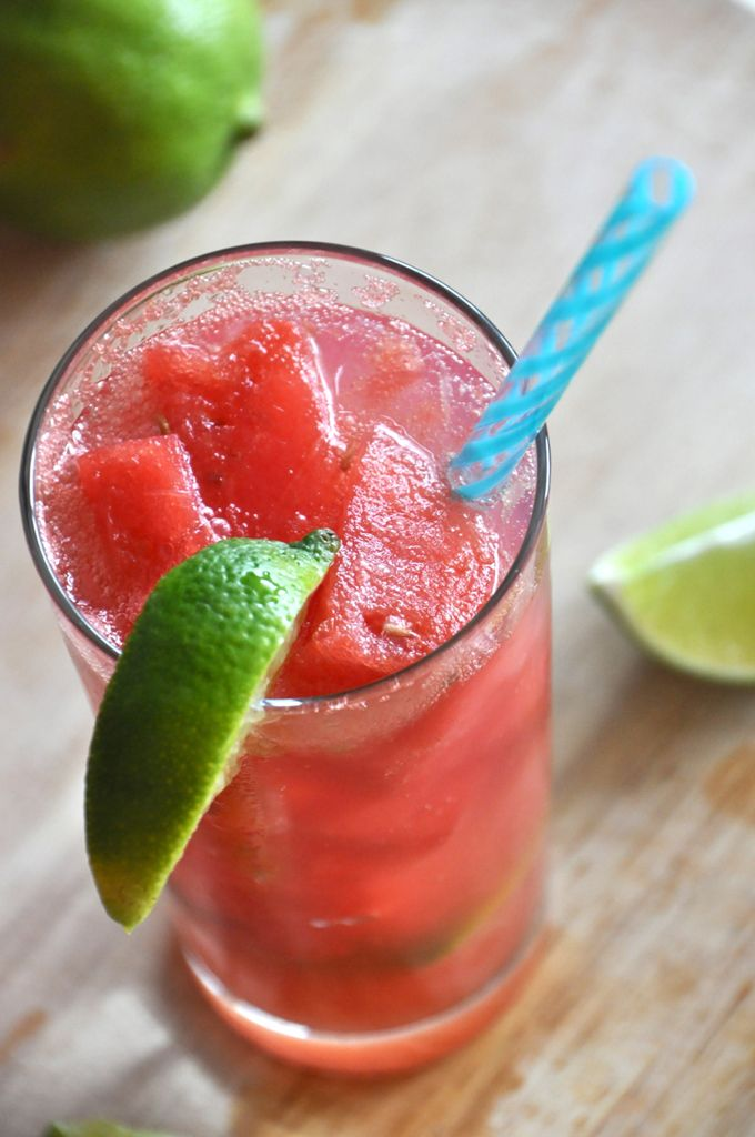 """Grown-Up Watermelon Limeades by minimalistbaker.com: Watermelon """"ice cubes"""" and fresh lime juice are the stars of this simple and refreshing cocktail. Perfect for light dinner drinks and sweet enough to be considered dessert. #Cocktail #Watermelon #Limeade #minimalistbaker"""