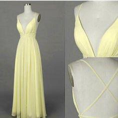 sexy light yellow prom dress, #promdresses, #yellowpromdresses, #partydresses, #simplepromdresses
