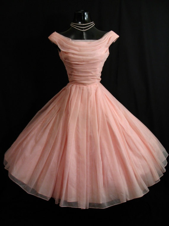I Love This Dress! 1950s Party Dress Pale Pink 50s Formal Dress Mad ...
