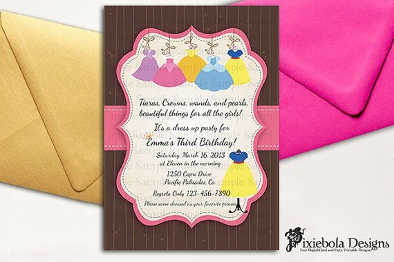 dress up princess birthday party | Princess Dress Up Birthday Invitation by pixieboladesigns on Etsy, $20 ...