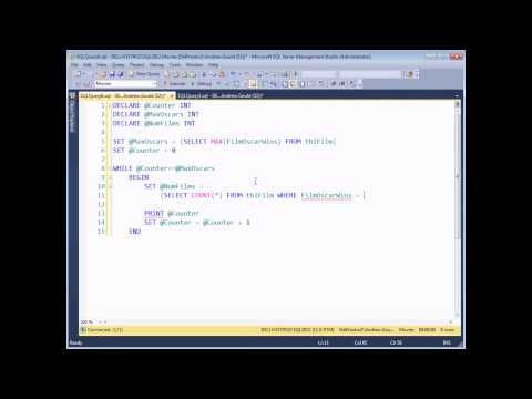 SQL Server Programming Part 6 - WHILE Loops - In SQL Server there is only one type of loop: a WHILE loop. This video teaches you how to use them, from the basic syntax of the WHILE statement, through how to use a SELECT statement within a loop. We'll also cover how to use the BREAK command to exit from a loop, what to do when you inevitably find yourself in an endless loop and, finally, a quick introduction to using loops with cursors.