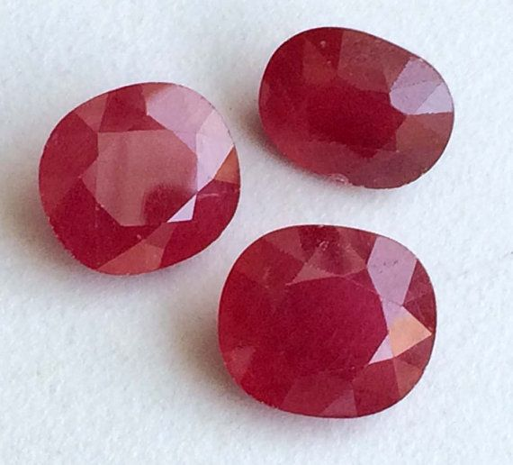 3 Pcs Ruby Glass Filled Oval Stones Ruby Faceted by gemsforjewels