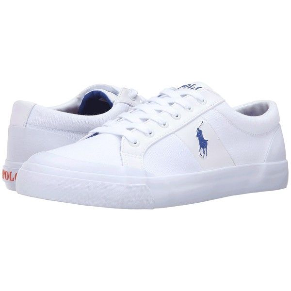 Polo Ralph Lauren Ian (Pure White Canvas) Men's Shoes ($69) ❤ liked on Polyvore featuring men's fashion, men's shoes, men's sneakers, polo ralph lauren mens sneakers, mens white shoes, mens white canvas sneakers, mens shoes and polo ralph lauren mens shoes