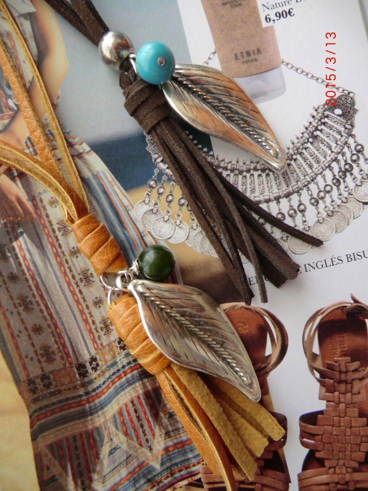 LA TIENDA DE MARIOLITA: Collar antelina con hoja zamak